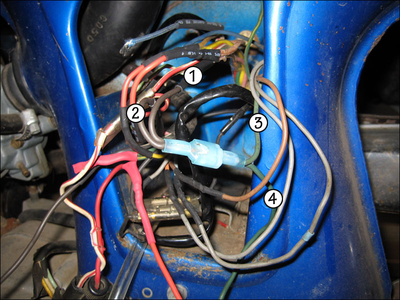 time to update the cl70 electrical harness fourwheelforum and finally the 4 way union of all the wires you can t even see the original 1 and 2 wires as they were so short
